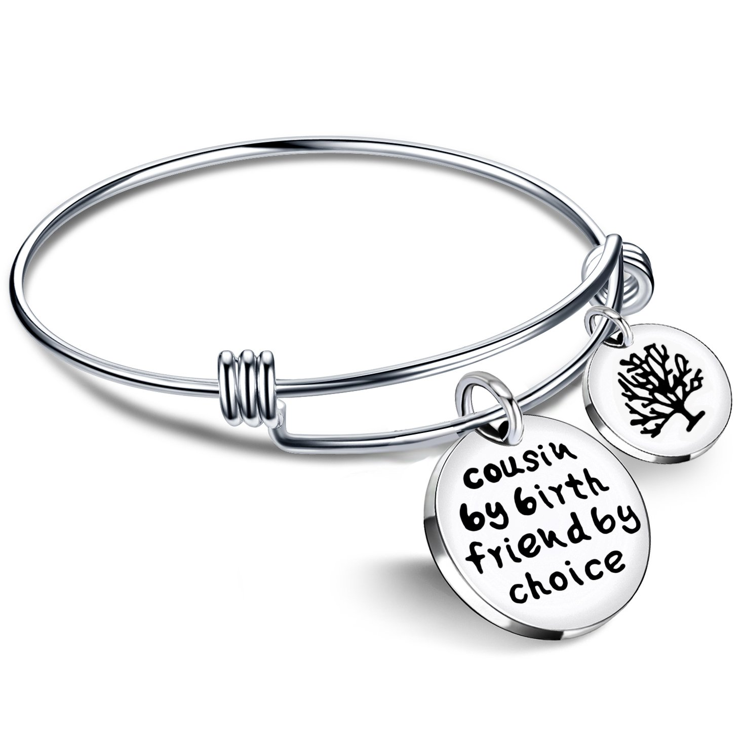 Cousin BBF Bangle Bracelets Best Friend Tree of life Pendant Gift Cousin by birth friends by choice lauhonmin AB060-CA