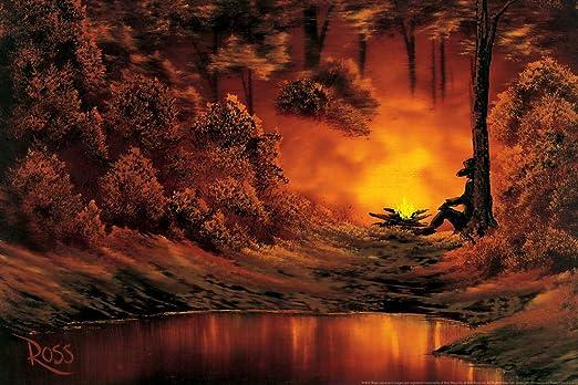 Amazon.com: Bob Ross Campfire Art Print Canvas Painting Cool Wall