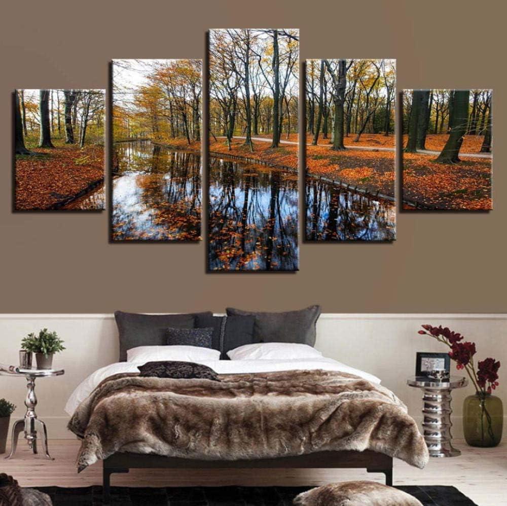 PrintWUHUA Cuadros Lienzos Decorativos Bosques De Otoño, Arroyos Cuadros Abstractos Modernos 5 Partes (W) 150Cmx(H) 80Cm