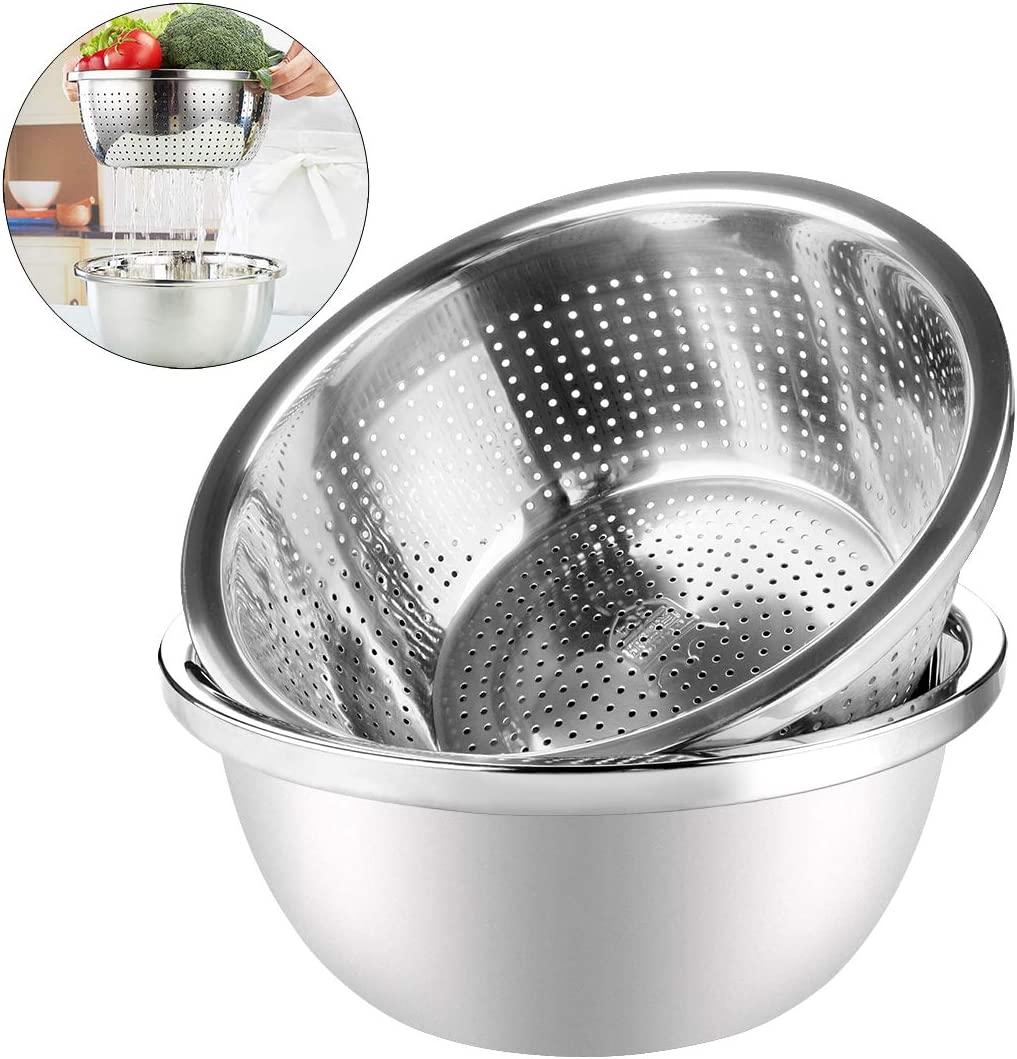 LinkIdea 304 Stainless Steel Strainer and Colander for Kitchen, Detachable 2 in 1 Kitchen Strainers/Colanders Bowl Sets for Rice, Vegetable, Fruits, Pasta, Noodles, Food Draining Basket with Basin