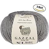 3 Pack (Ball) Gazzal Baby Wool XL Total 5.28 Oz / 328 Yrds, Each Ball 1.76 Oz (50g) / 109 Yrds (100m) Super Soft, Medium-Worsted Yarn, 40% Lana Merino 20% Cashmere Type Polyamide, Grey-818