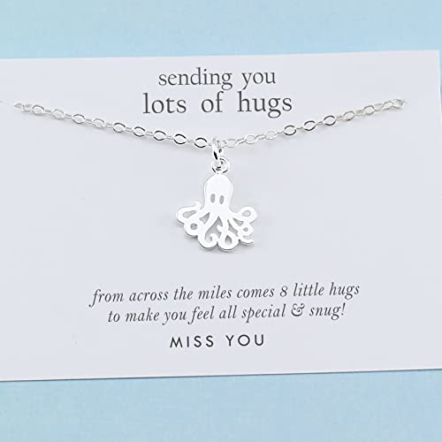 64f12e0d1bf01 Best Friend Gift • Long Distance Friendship • Tiny Octopus Charm Necklace •  Sterling Silver • BFF Besties Jewelry