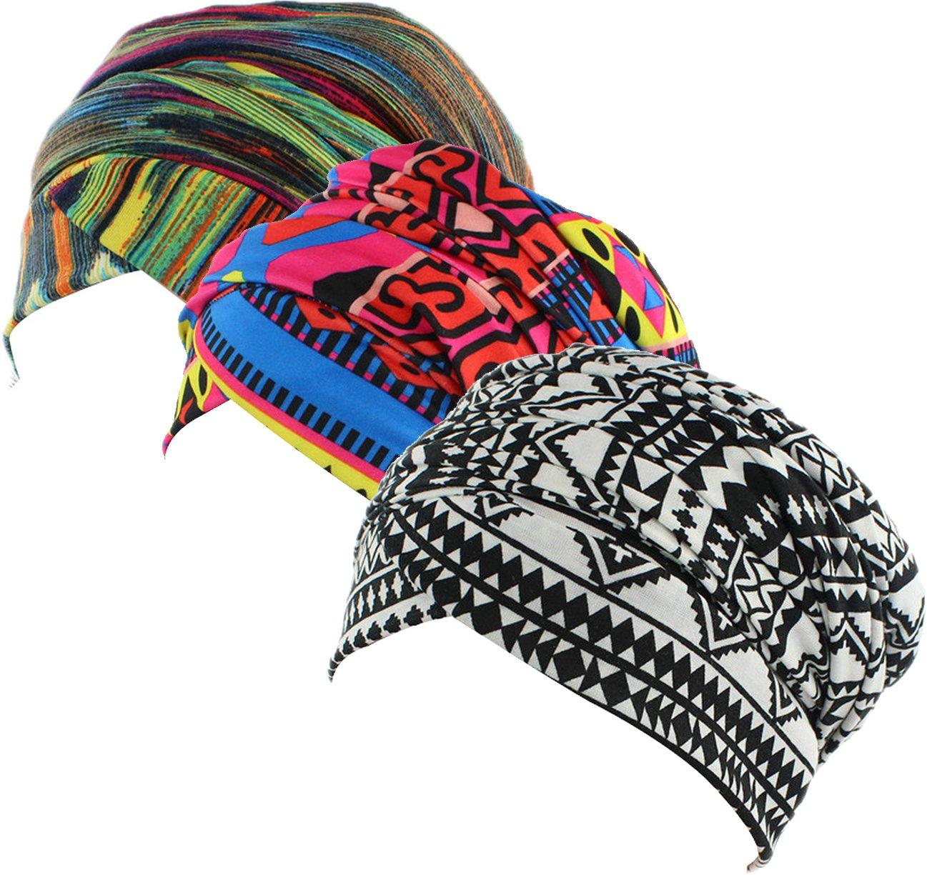 Ababalaya Women's Elegant Soft Print Muslim Islamic Turban Cap Headscarf Hijab Head Wrap,1+2+3