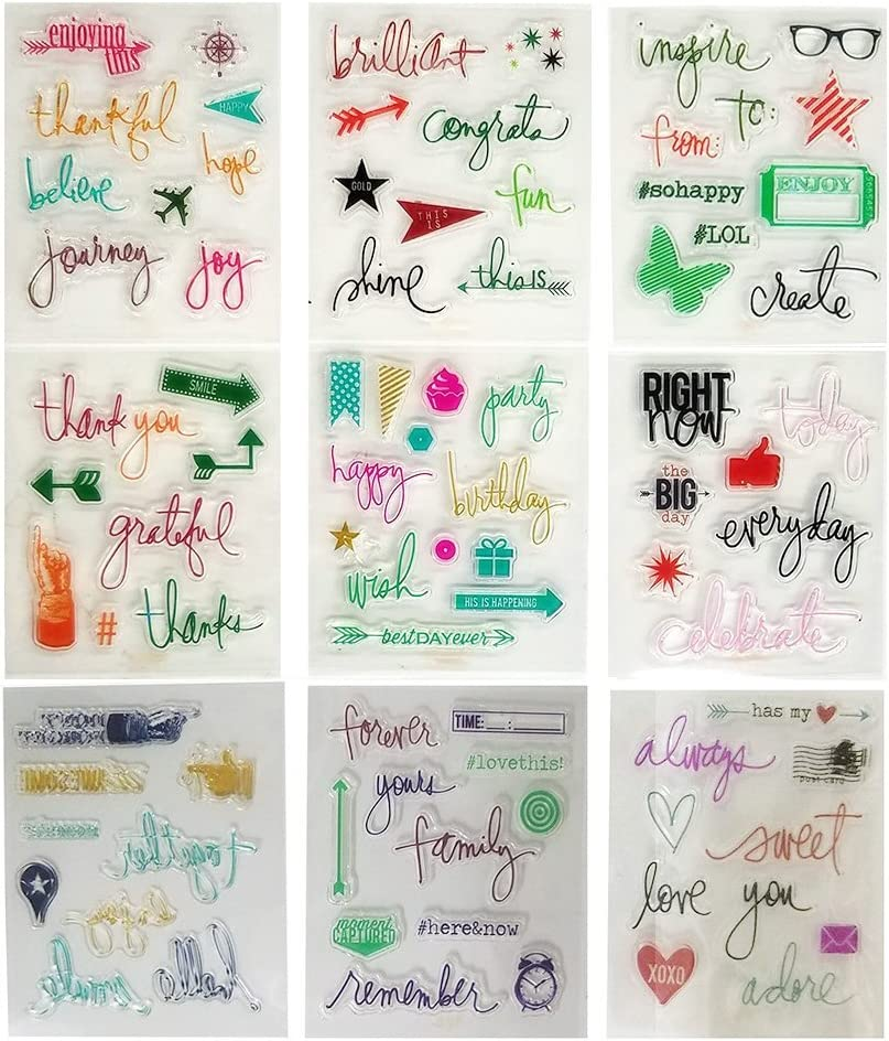 Aoyoho 9 Pieces Different Style Journaling Planner Clear Rubber Stamp for Card Making Decoration and Scrapbooking