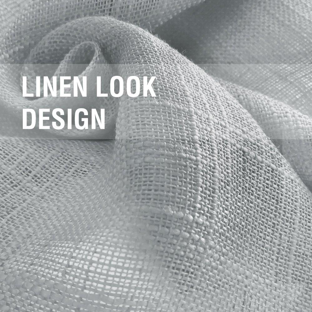 Linen Look Sheer Valance Bedroom 16 inch Length Valances Windows Rod Pocket Curtain Valance Grey Living Room, 1 Panel, Grey by jinchan (Image #5)