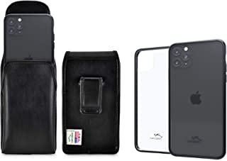 product image for Turtleback Hybrid Case/Holster Combo Designed for New iPhone 11 Pro (2019) 5.8 Inch, Anti-Scratch Ultra Clear Back Protective Case Fitted in Leather Belt Pouch, Executive Belt Clip-Vertical/Black
