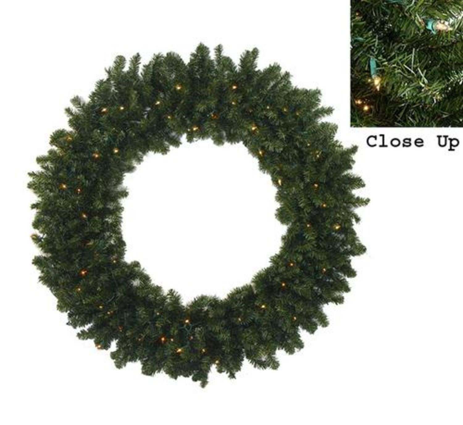 60'' Pre-Lit Commercial Canadian Pine Artificial Christmas Wreath - Clear Lights