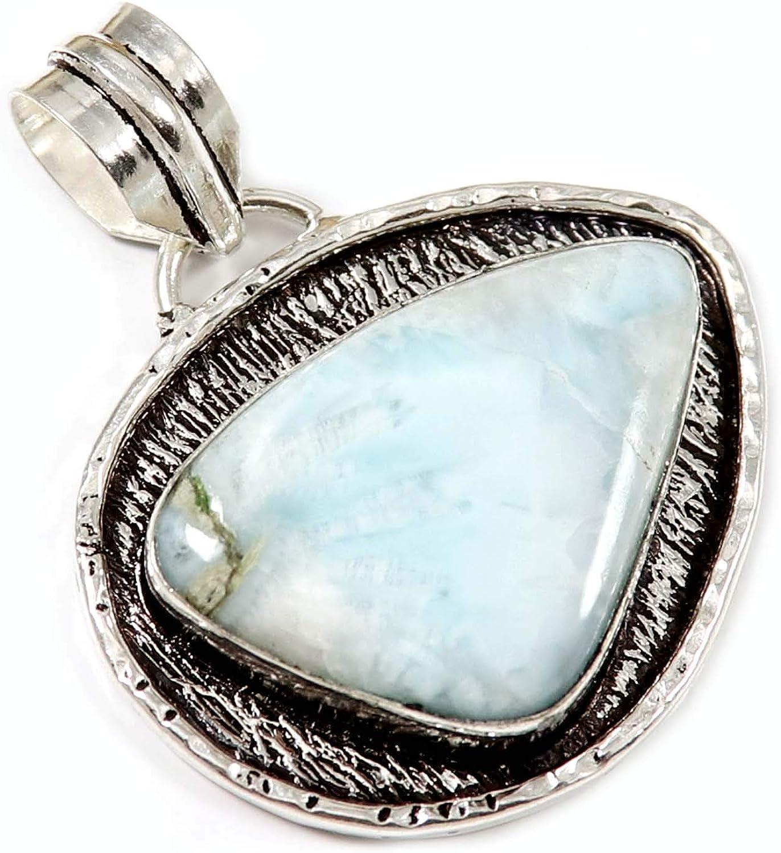 Goyal Crafts GPW46 - Colgante de plata con piedra larimar natural