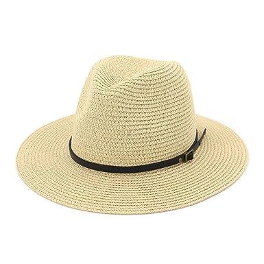d3b62925 MXNET Summer Straw Hats, Fashion Panama Outdoors Beach Sun Cap Wide Brim Paper  Straw Fedora Hat Men Women (Color : Beige): Amazon.co.uk: Clothing