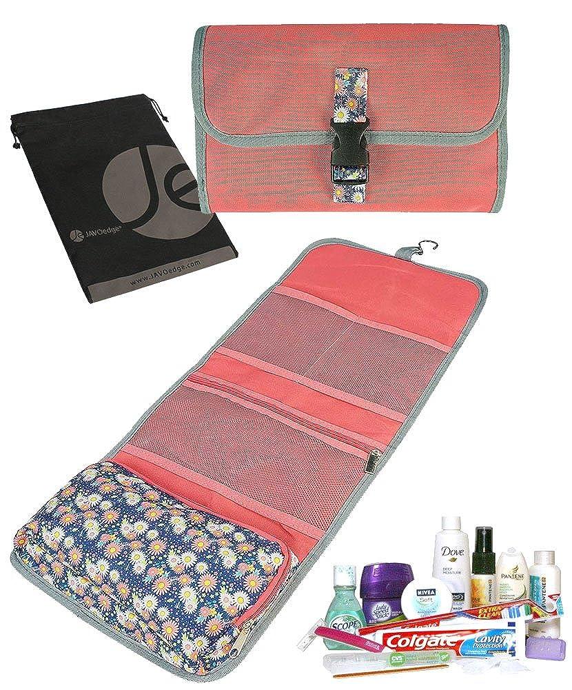 JAVOedgeフローラル印刷ポータブルHanging Travel Cosmetic Toiletry Foldupオーガナイザーバッグの女性メイクアップストレージ  ピンク B01LYJRL9B