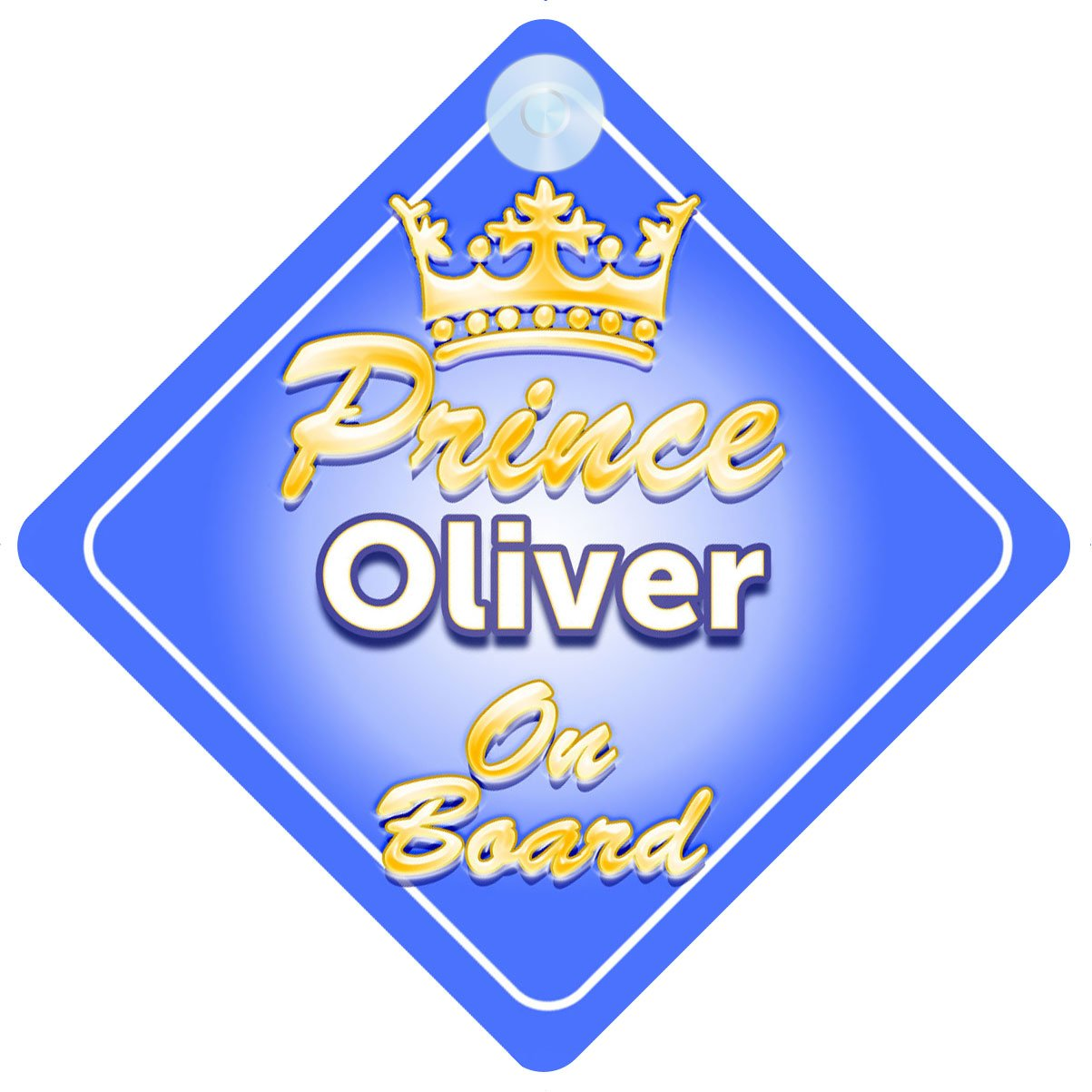 Crown Prince Oliver On Board Personalised Baby Child Boys Car Sign