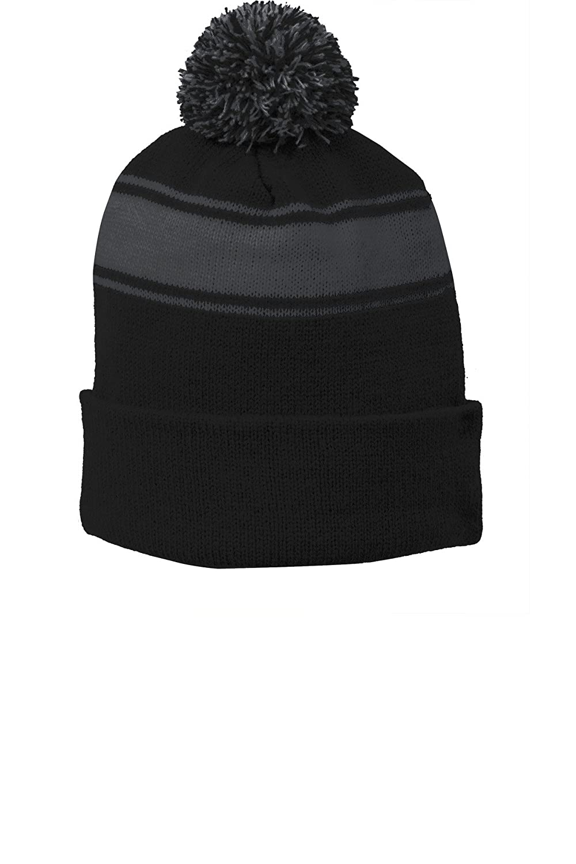 f04dca9c Sport-Tek Mens Stripe Pom Pom Beanie (STC28)