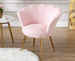 Chairus Living Room Chair, Faux Fur Mid Century Modern Retro Leisure Accent Chair with Golden Metal Legs, Vanity Chair for Bedroom Dresser, Upholstered Guest Chair(Sakura Pink)