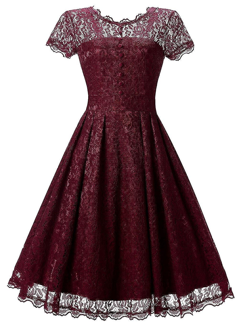 d3724985ca8 Amazon.com  Tecrio Women Elegant Vintage Floral Lace Capshoulder Cocktail Party  Swing Dress  Clothing