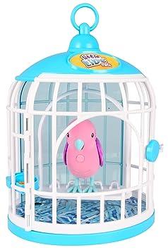 Little Live Pets 33345 - Zwitschernder und sprechender Vogel im Käfig - Krissy Kristall, rosa