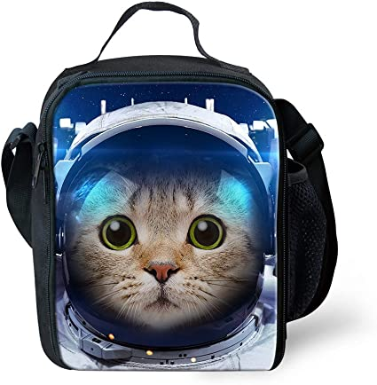 Showudesigns School Lunch Box Food Picnic Pouch School Insulated Lunch Bag Cat Astronaut Print Amazon Co Uk Kitchen Home