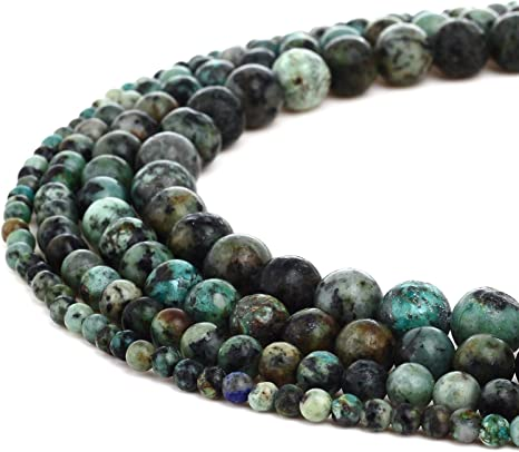 """15/"""" Strand 10mm Natural Semi Precious African Turquoise Round Gemstone Beads"""