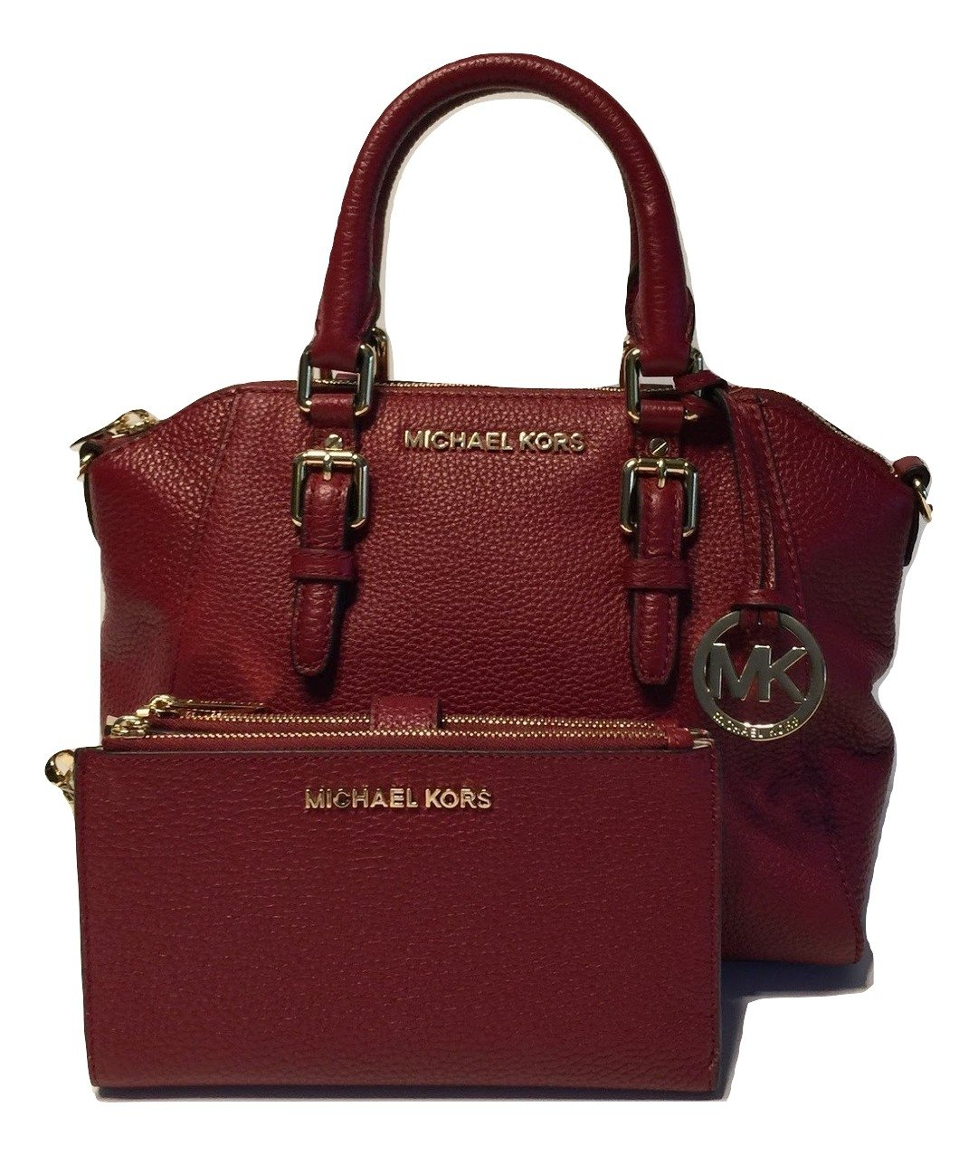 MICHAEL Michael Kors Ciara MD Messenger Handbag bundled with Michael Kors Jet Set Travel Double Zip Wallet Wristlet (Cherry)