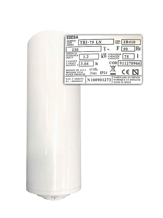 Edesa Tri Memoria de caldera de agua caliente 75 LN 75L 1200 W Termostato Válvula de seguridad: Amazon.es: Bricolaje y herramientas