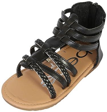 c3eb90e70eb6 bebe Girls Gladiator Sandals with Glitter Braided Straps (Toddler) (5 M US  Toddler