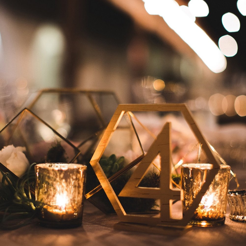 Rely2016 Wooden Table Number, 1-20 Wedding Wood Table Numbers Hexagon Geometric Reception Stands Décor for Wedding Banquet Birthday Party Events (1-20) by Rely2016 (Image #7)