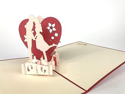 Tarjetas de felicitación 3D con diseño de corazones de amor ...
