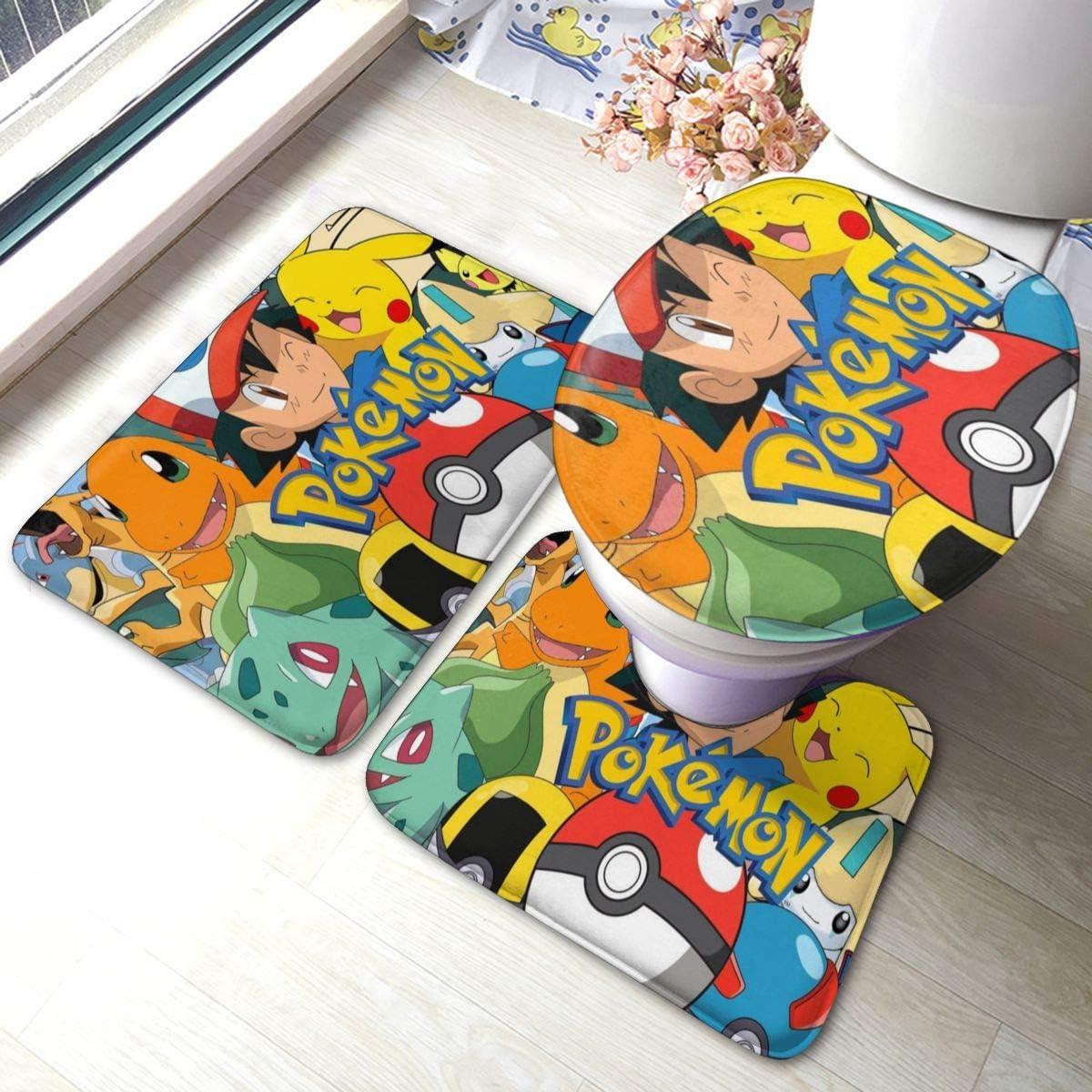 Poke-mon 1 Bath Mat 3 Piece Set Bathroom Carpet Set Soft Anti-Skid Pads Bath Mat + Contour Pads + Toilet Lid Cover, Absorbent Carpet Bath and Mat Anti-Slip Pads Set 23.6 x 15.7 INCH