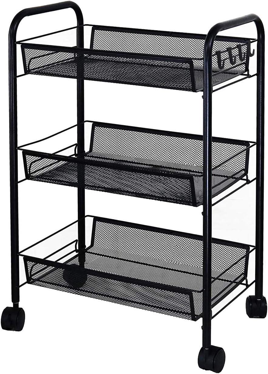Amlanpin Rolling Storage Cart 3-Tier Metal Mesh Basket Shelves Organizer with Wheels for Home,Office,Kitchen,Bathroom,Bedroom(Black)