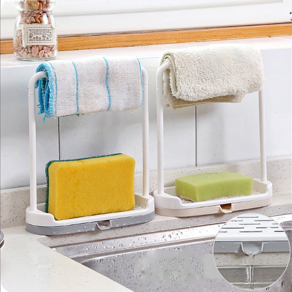 LiPing Hanging Double Layer Practical Desktop Dishcloth Rack Dish Cloths Rack Sponge Holder Clip Rag Storage for Kitchen Supplies Cleaning Utensils (A) by LiPing (Image #2)
