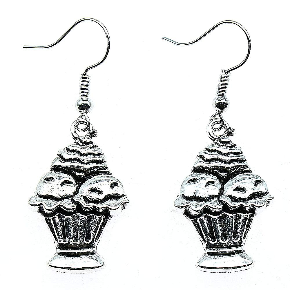 WYSIWYG 3 Pairs Drop Earrings Jewelry Earrings Findings Cake Cup Cake Ice Cream 27x18mm with Earring Backs Stopper