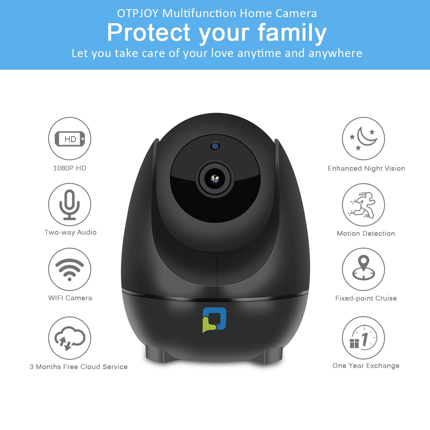 OPTJOY Wireless Security Camera, 1080P WiFi IP Camera, Pan Tilt Zoom Home Indoor Surveillance Camera Auto Night Vision, Motion Tracker, Two-Way Audio, iOS Android APP, Free Cloud Service
