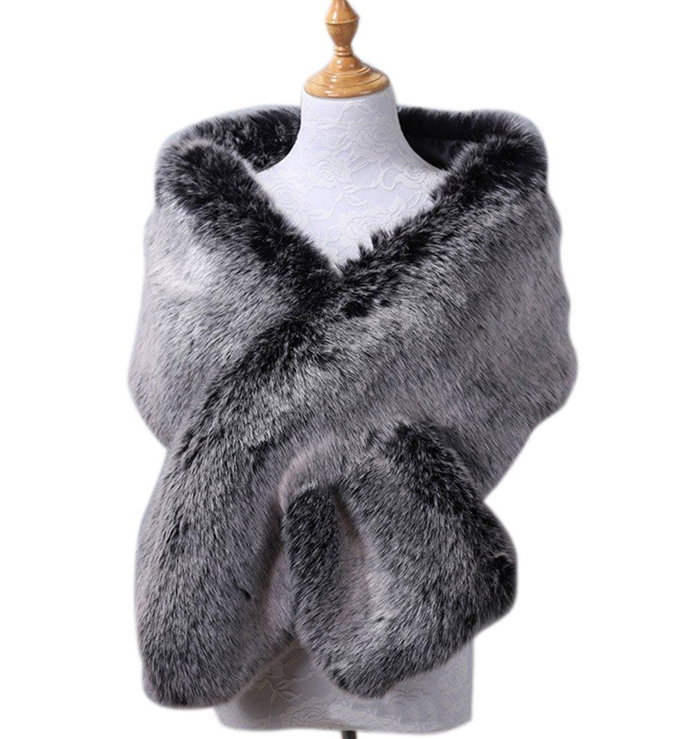 Yiweir Women Luxury Bridal Faux Fur Shawls Wraps Cloak to Keep Warm