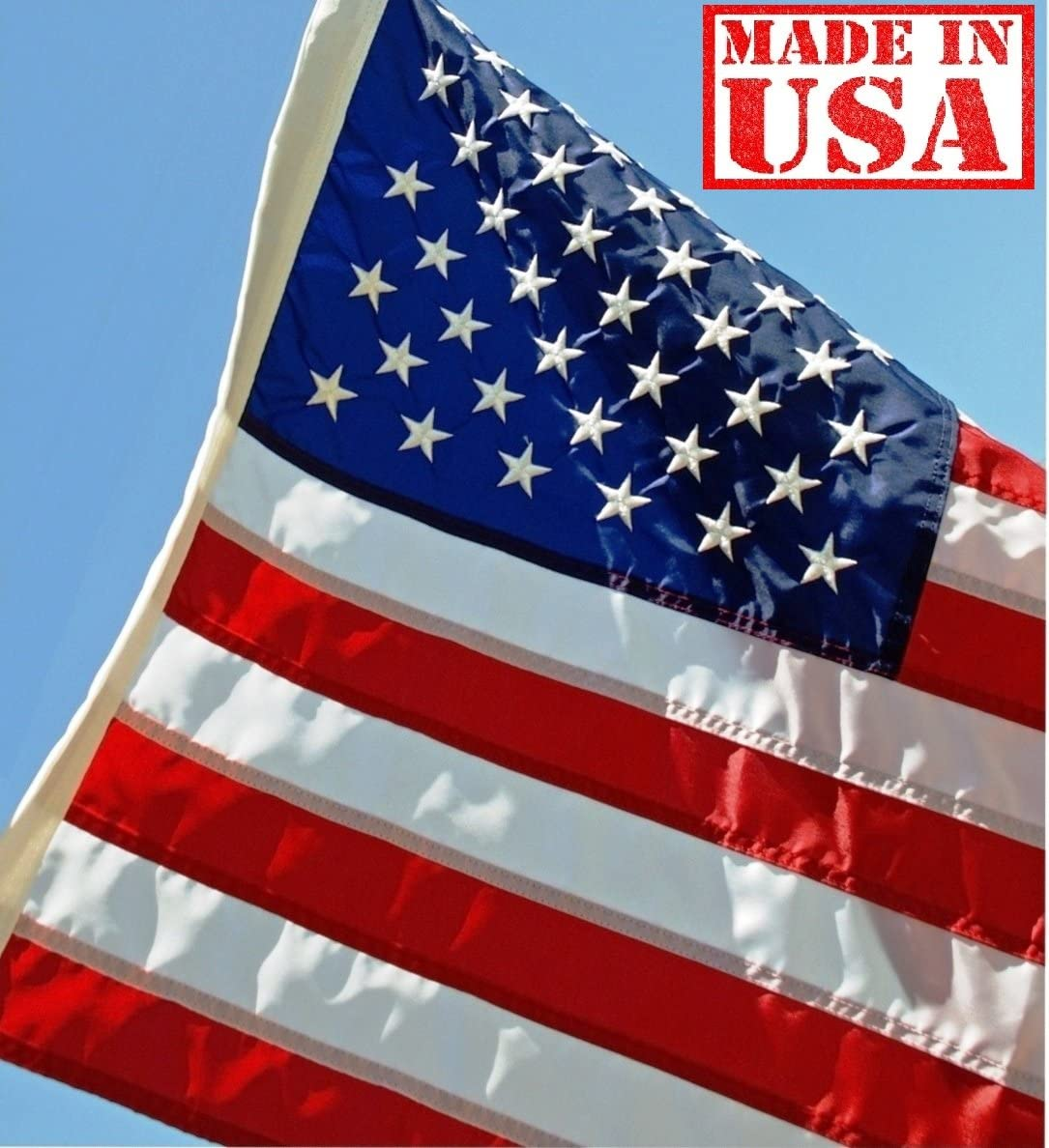 US Flag Factory - 3x5 FT US American Flag (Embroidered Stars, Sewn Stripes) Outdoor SolarMax Nylon Flag - Made in America - Premium Quality (3x5 FT)