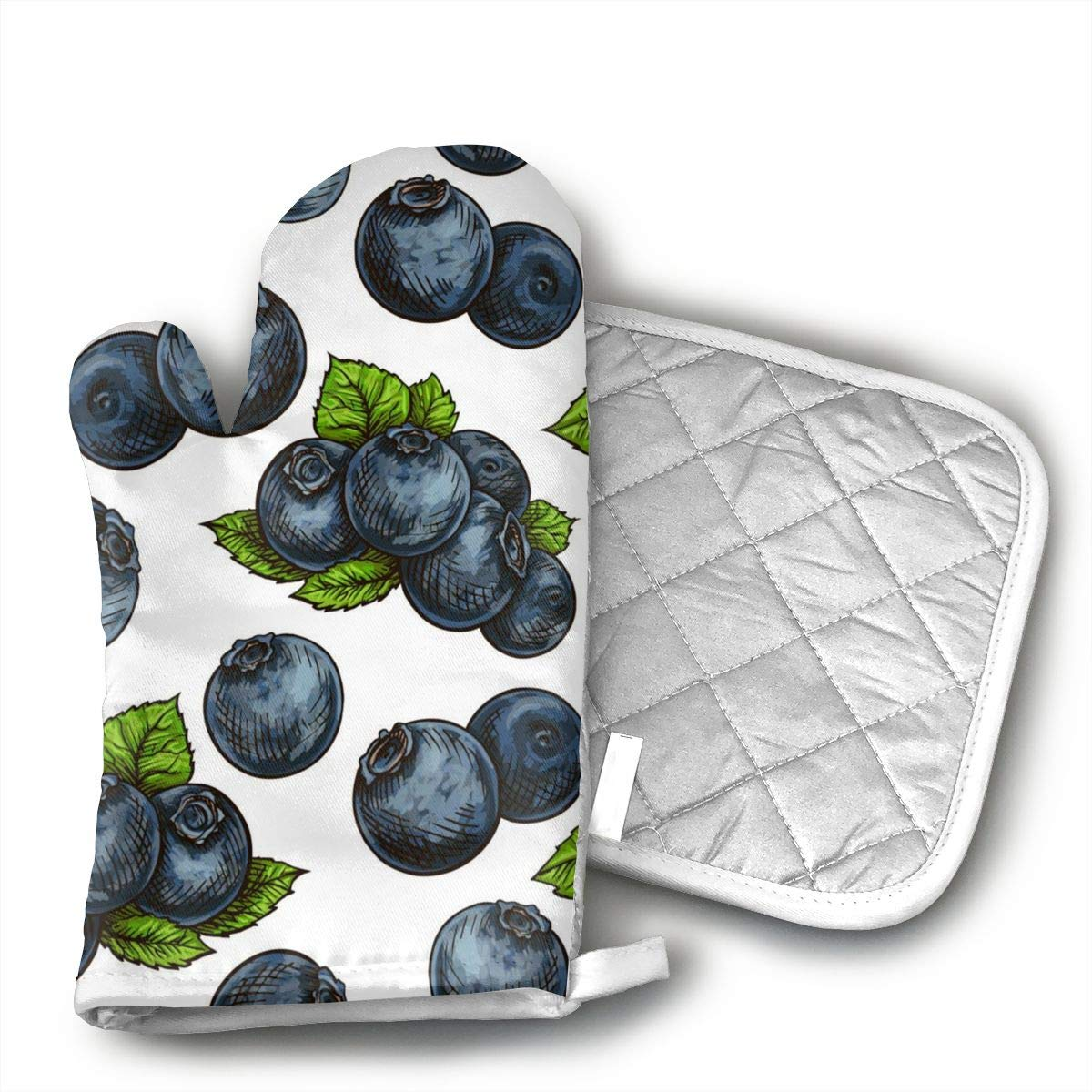 Wiqo9 Blueberry Pattern Oven Mitts and Pot Holders Kitchen Mitten Cooking Gloves,Cooking, Baking, BBQ.