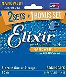 Elixir エリクサー エレキギター弦 2セット+1ボーナスセット NANOWEB Light .010-.046 #16542 (12052 3個セット) 【国内正規品】