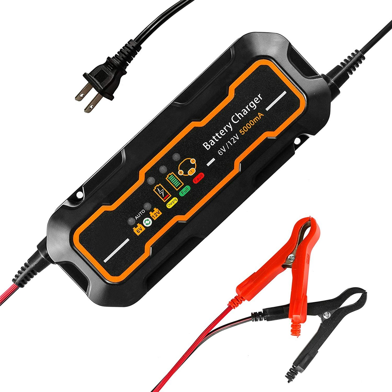 6V/12V 5A Automatic Charger/Maintainer for Cars, Motorcycles, ATVs, Rvs, Powersports, Boat and More SAILFLO JP-BC570
