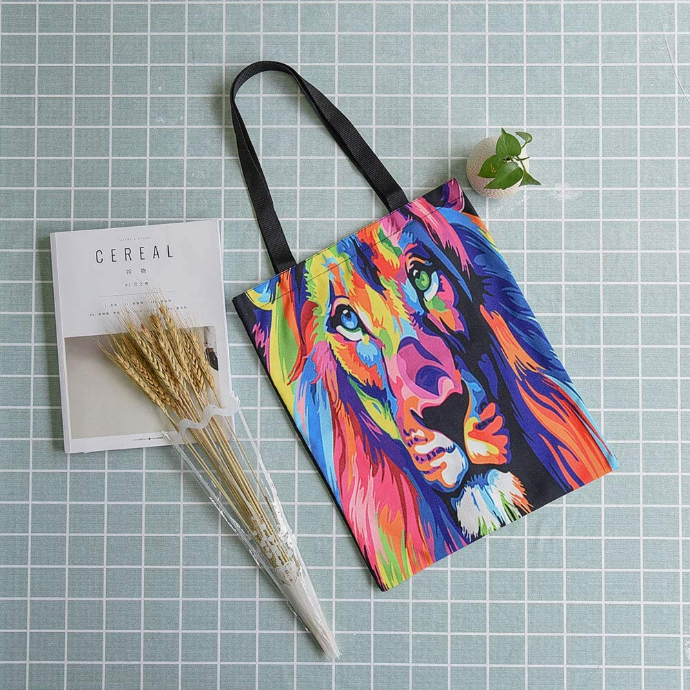 Personality Animal Printed Shopping Tote Bag for Working School Everyday Use L Cat INSOUR Tote Bag Canvas 3 Types