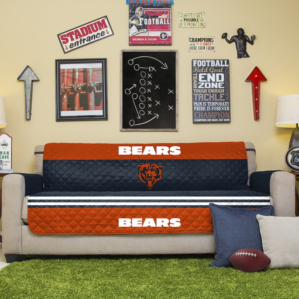 Pegasus Home Fashions NFL Chicago Bears Sofa Couch Reversible Furniture Protector with Elastic Straps, 75-inches by 110-inches