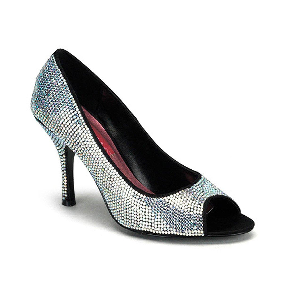 92b9f558b8f Amazon.com   Bordello 3 1/2 Inch Heel Rhinestone Peep Toe Pump Shoe ...