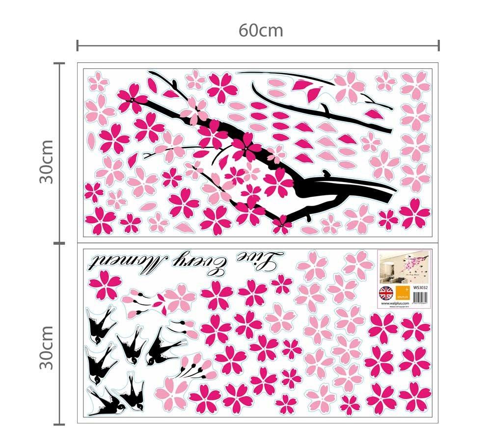 dise/ño de /árbol en Flor y Golondrinas Adhesivos Decorativos para la Pared Color Rosa y Negro Walplus