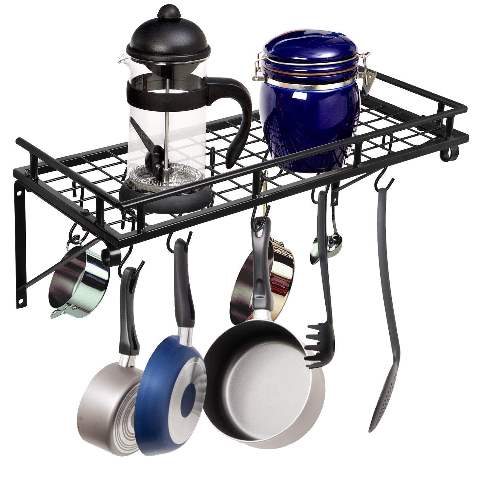 ZENY Pot Rack Wall Mounted,Pot Pan Hanging Racks with 10 Hooks,Kitchen Storage Pot Pan Holder Organizer,Multi-Purpose Shelf Orgnizer