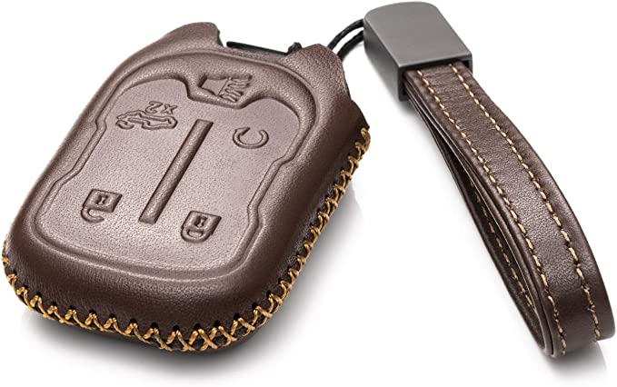 Vitodeco Genuine Leather Smart Key Fob Case Cover Protector with Leather Key Chain for 2019-2020 Chevrolet Silverado 1500 3500 5-Button, Black 2019 GMC Sierra 2500