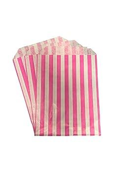 Packitsafe Bolsas de caramelos rosas, bolsa de papel a rayas, bolsas de dulces de fiesta 5x7