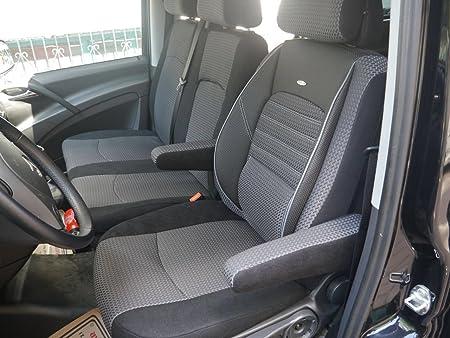 Seatcovers By K Maniac Sitzbezüge Vito W639 Elite Fahrersitz Doppelbank Zwei Armlehnen Schwarz Anthrazit W639 T24 Auto