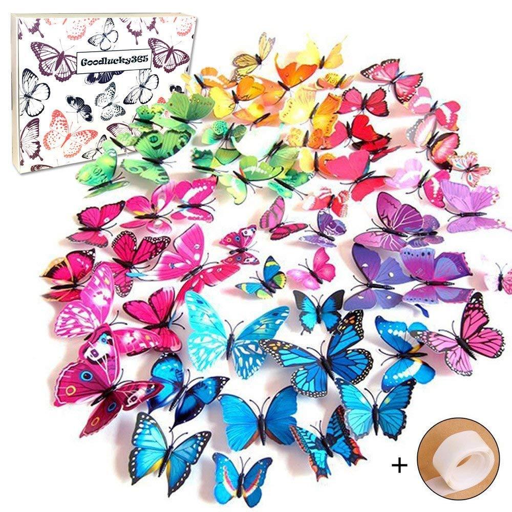 Goodlucky365® 72 Pezzi Farfalle 3d Farete Misura Grande Adesiv da Parete 3d con Farfalle 12 Pezzi blu +12 Pezzi giallo +12 Pezzi verde +12 Pezzi viola decorazioni a farfalla in plastica, decorazione da parete qt