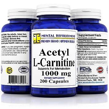 Pure Acetyl L Carnitine Maximum Strength 1000 Mg 200 Capsules
