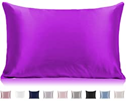 """Mulberry Silk Pillowcase for Hair and Skin, 25 Momme Anti Wrinkle Silk Pillow Case Cover with Hidden Zipper(Purple, Queen 20"""""""
