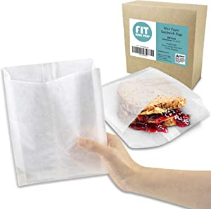 "[200 Pack] Plain 7 x 6 x 1"" Wet Wax Paper Sandwich Bags, Food Grade Grease Resistant, White Glassine Semi Translucent"