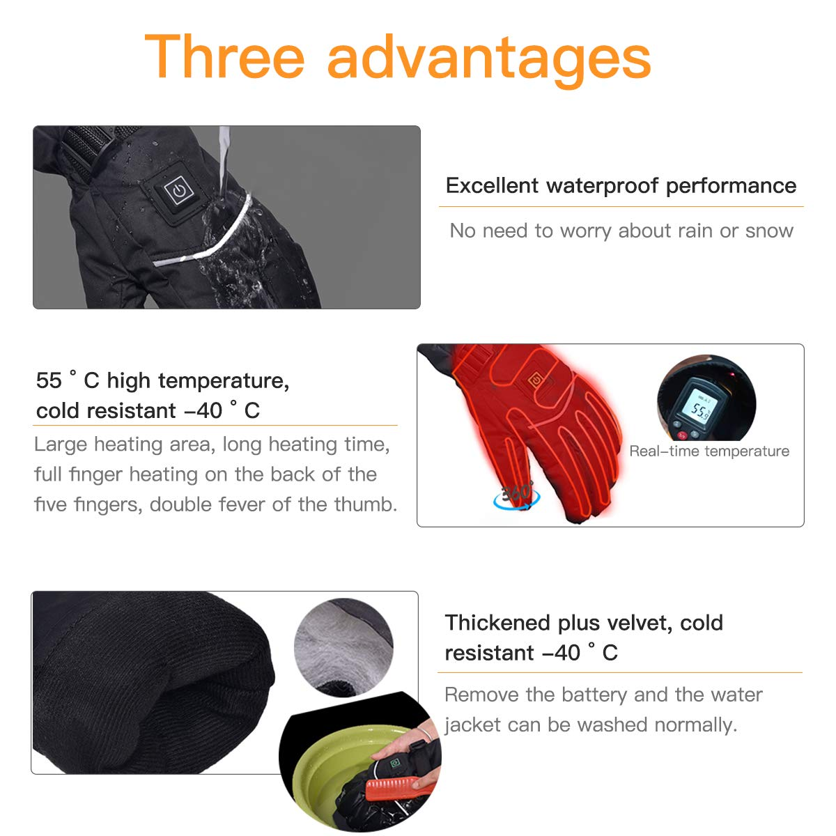 GDCB Guanti riscaldati elettrici Guanti Termici Touchscreen alimentati a Batteria Ricaricabili Impermeabili con Striscia Riflettente per Escursionismo Sci Scaldamani da Caccia