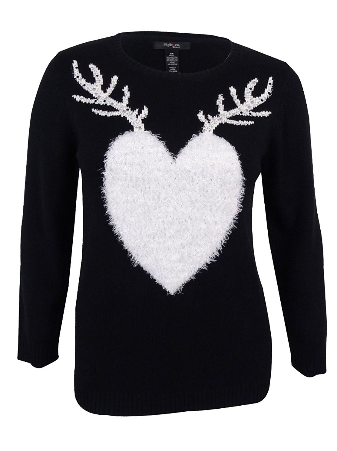 Style & Co.. Womens Plus Knit Embellished Sweater Black 3X